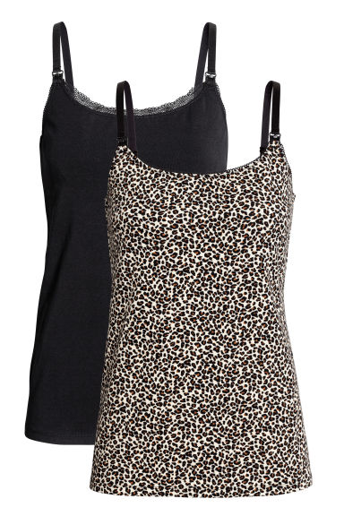 MAMA 2-pack nursing vest tops - Leopard print - Ladies | H&M CN